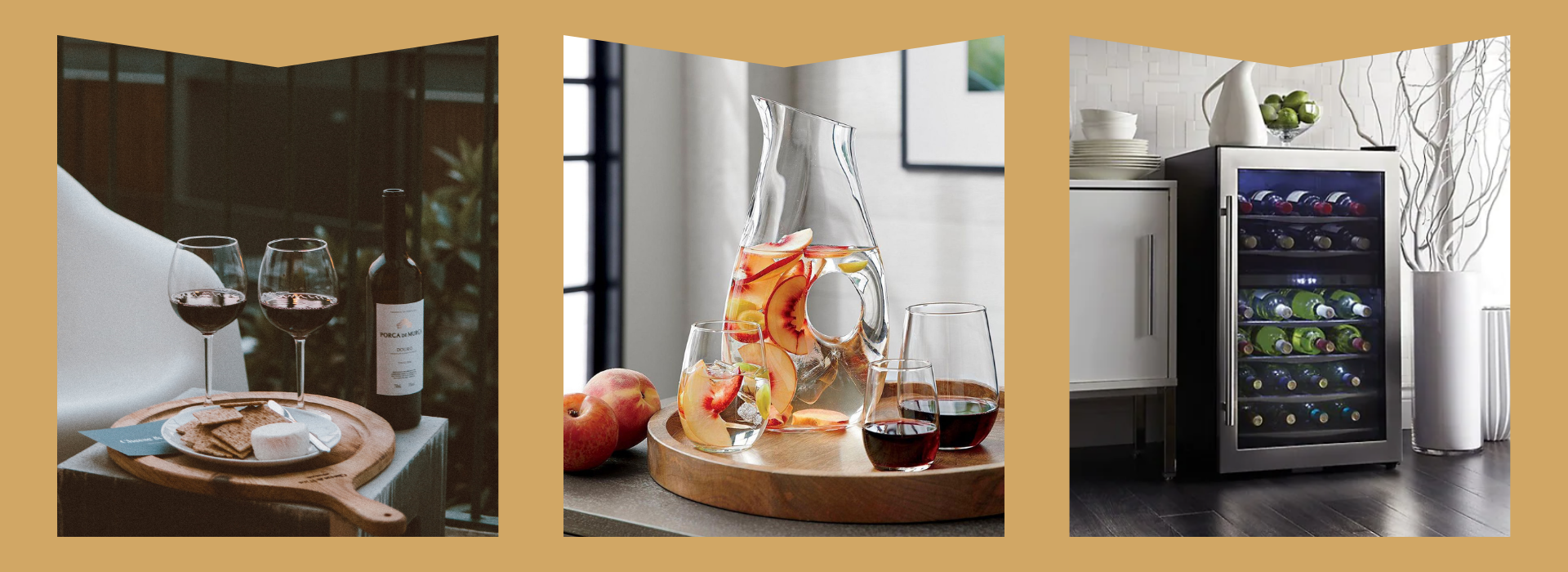 Wine glass, decanter, and wine cooler