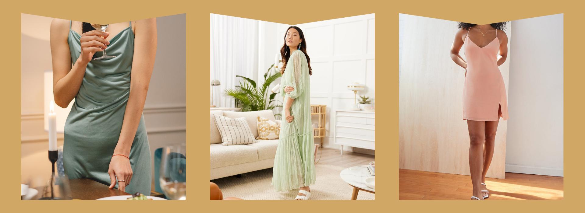 Green silky slip dress, Mint maxi dress, fun pink mini dress