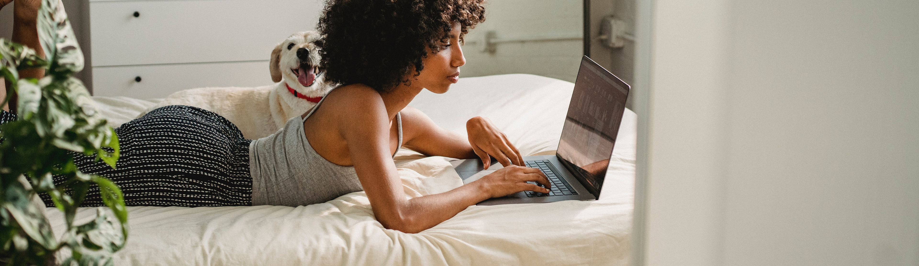 Girl laying on bed looking at laptop