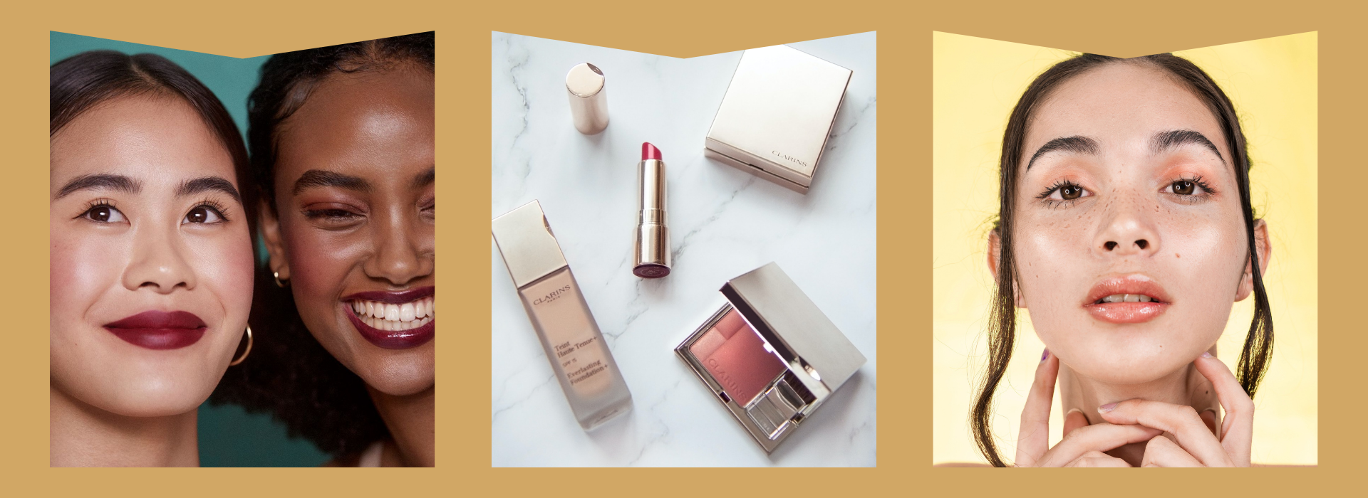 Wine coloured lipstick, rosy pink cosmetics laid out on counter, dewy orange makeup
