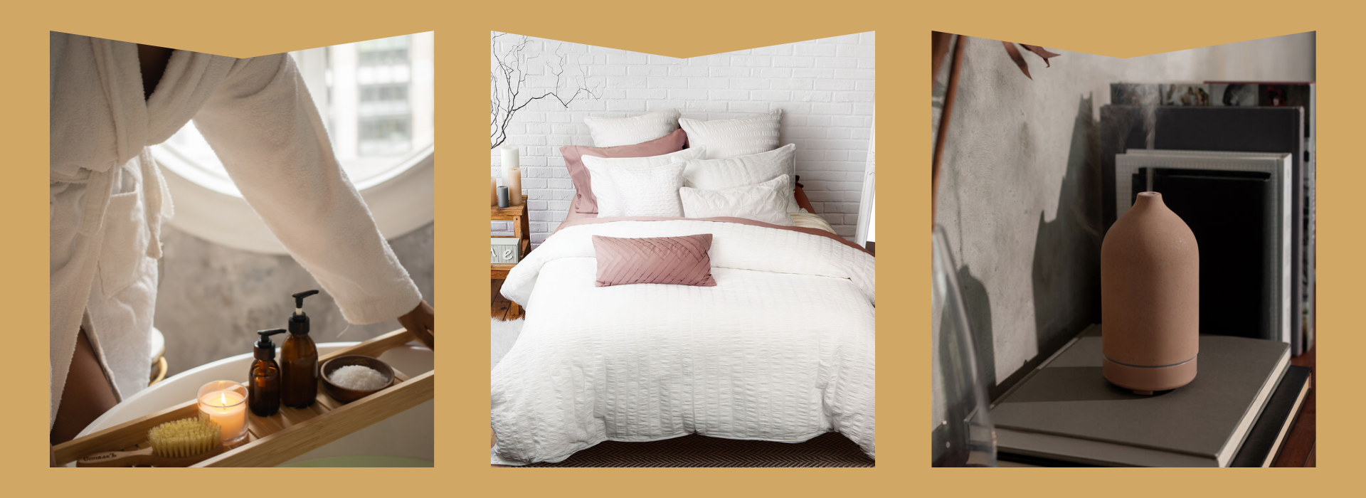 Fluffy robe, cozy bedding, and diffuser to help you rest and relax