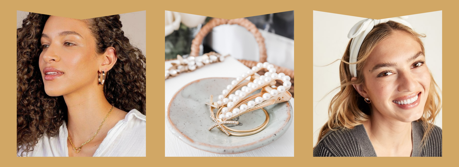 Gold hoops and necklace, sea shell inspired hair clips, white headband