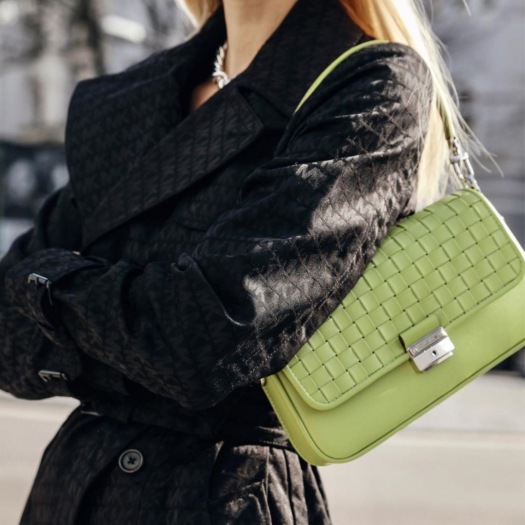 Neon green leather handbag