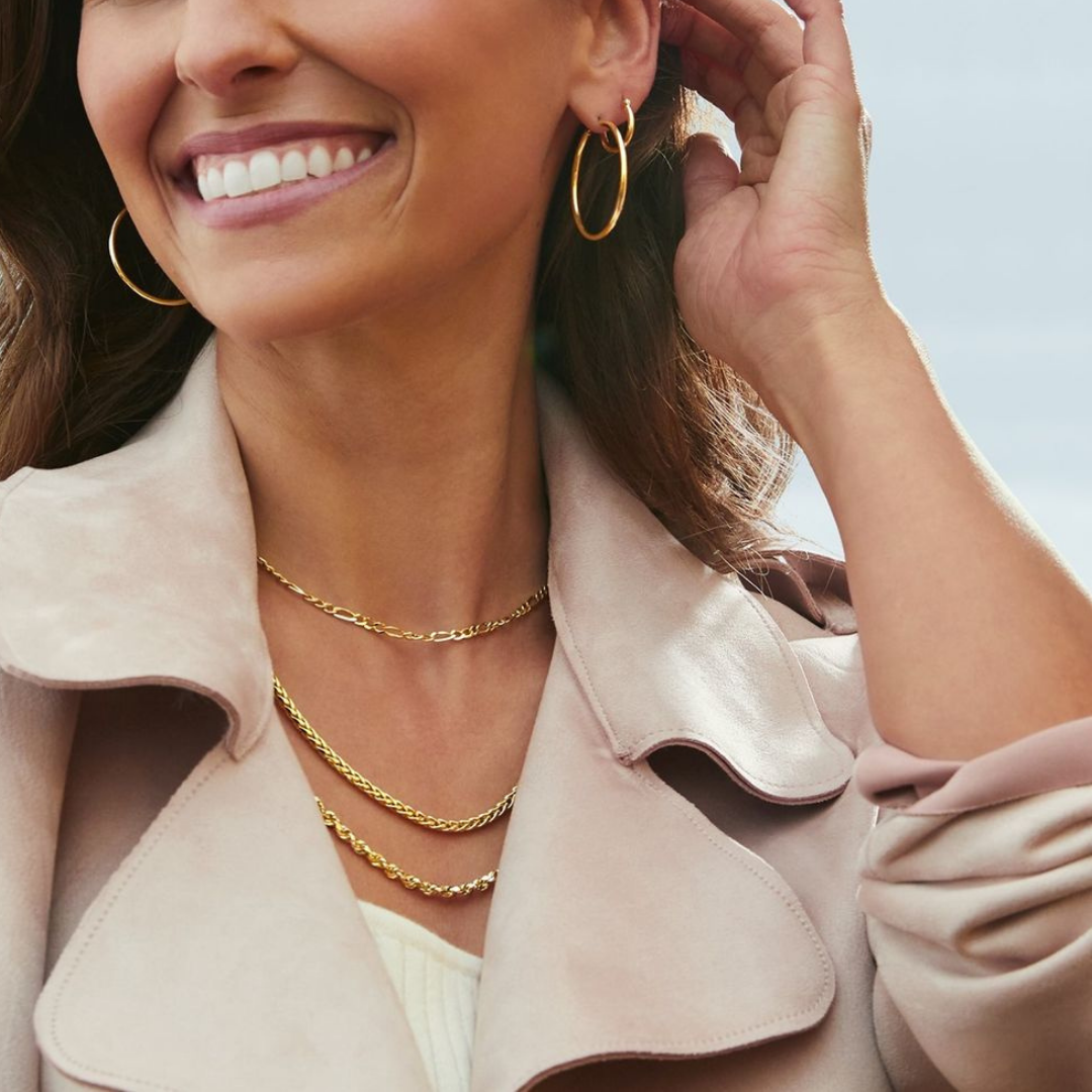 Gold earrings and necklaces