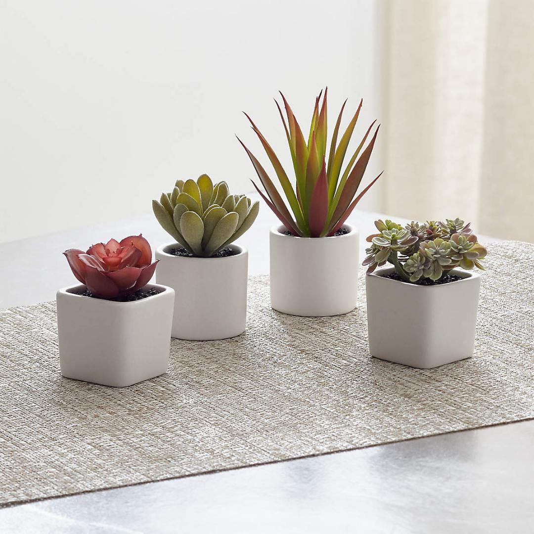 Four small faux succulents