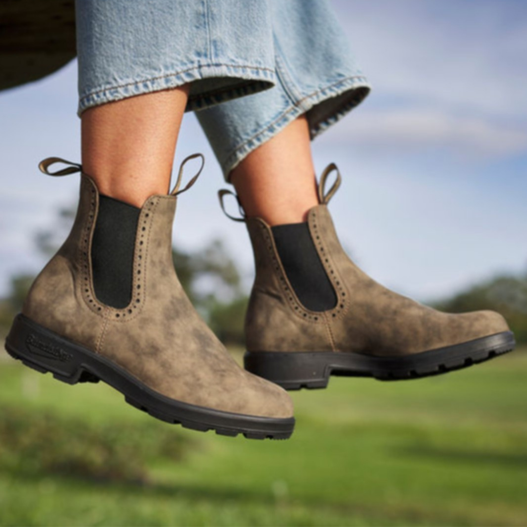 Brown patchy leather Chelsea boot from Soft Moc